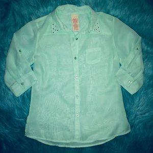 NWOT Girls' Sheer Long/3/4 Shirt